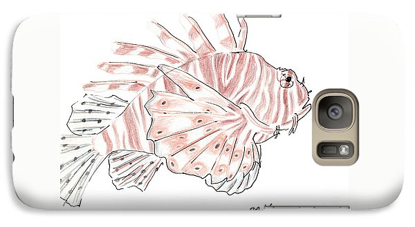 Galaxy Case featuring the drawing Sketch Of Lion Fish At London Aquarium by Jingfen Hwu