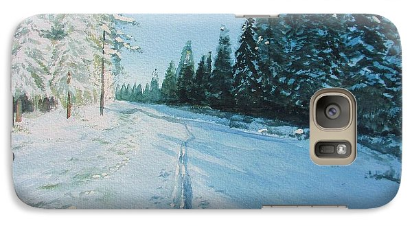 Galaxy Case featuring the painting Ski Tracks by Martin Howard