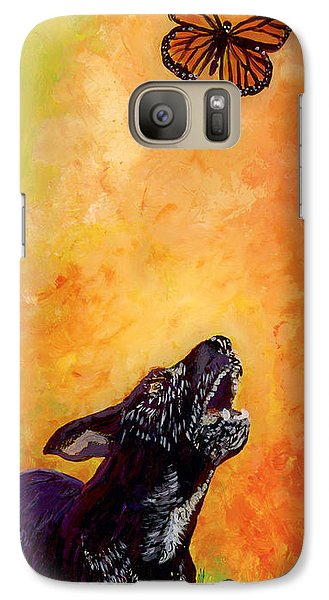 Galaxy Case featuring the painting Skippy And The Flying Flower. by Anna Skaradzinska
