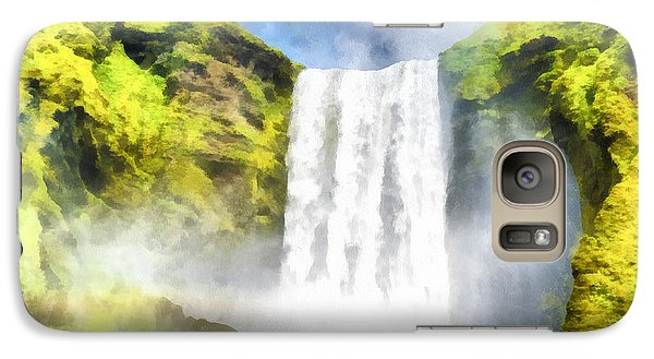 Skogafoss Waterfall Iceland Painting Aquarell Watercolor Galaxy S7 Case