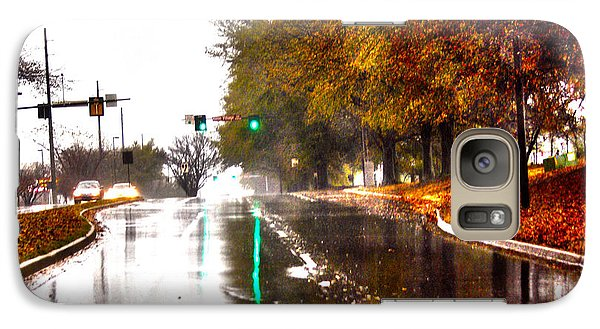 Galaxy Case featuring the photograph Slick Streets Rainy View by Lesa Fine