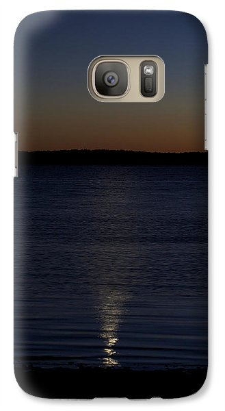 Galaxy Case featuring the photograph Sliver - A Crescent Moon On The Lake by Jane Eleanor Nicholas