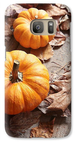 Galaxy Case featuring the photograph Small Pumpkins On Fall Leaves by Sandra Cunningham