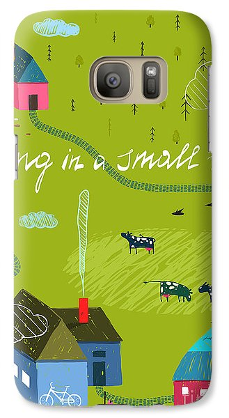 Pasture Galaxy S7 Case - Small Town Or Village With Forest And by Popmarleo
