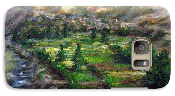 Galaxy Case featuring the painting Village In The Mountain  by Laila Awad Jamaleldin