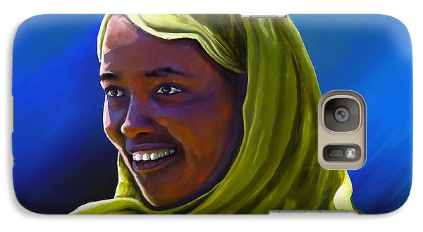 Galaxy Case featuring the painting Smiling Lady by Anthony Mwangi