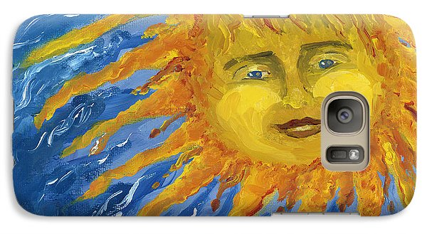 Galaxy Case featuring the painting Smiling Yellow Sun In Blue Sky by Lenora  De Lude