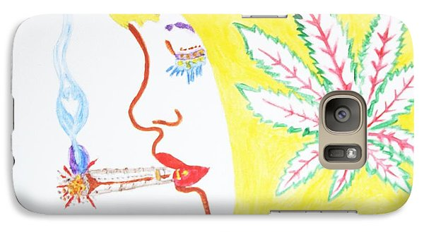 Galaxy Case featuring the painting Smoking Blonde by Stormm Bradshaw