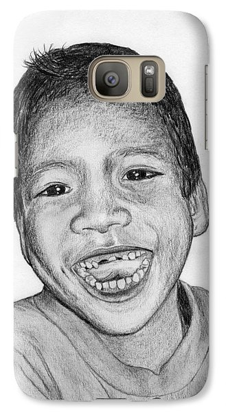 Galaxy Case featuring the drawing Snaggle-tooth by Lew Davis