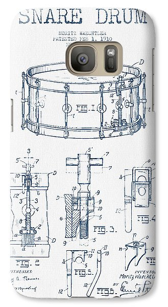 Drum Galaxy S7 Case - Snare Drum Patent Drawing From 1910  - Blue Ink by Aged Pixel