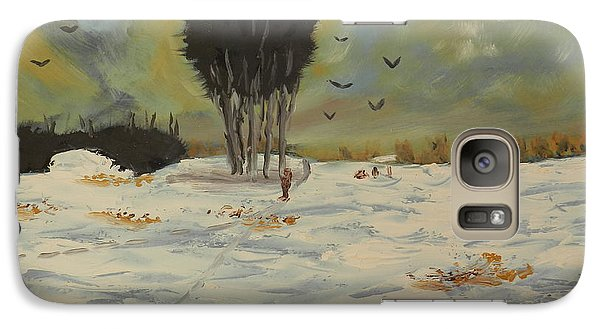 Galaxy Case featuring the painting Snow At Christmas by Pamela  Meredith
