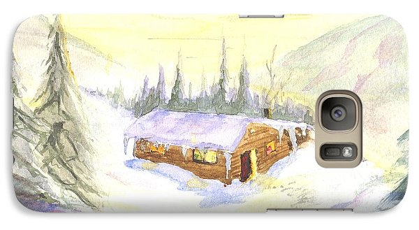 Galaxy Case featuring the painting Snow Cabin Welcome by Sherril Porter
