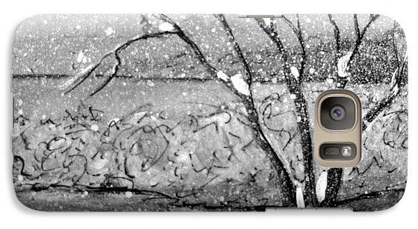 Galaxy Case featuring the painting Snow Capped Tree by Gretchen Allen
