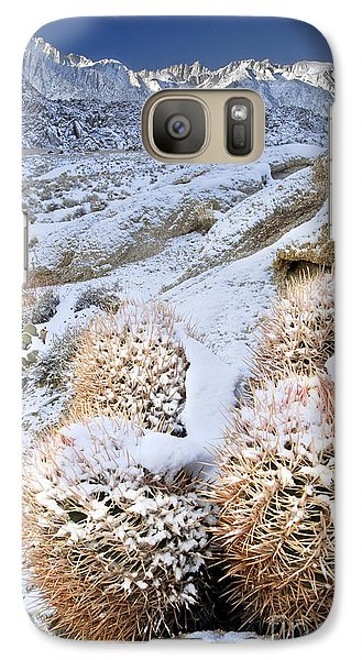 Galaxy Case featuring the photograph Snow Covered Cactus Below Mount Whitney Eastern Sierras by Dave Welling
