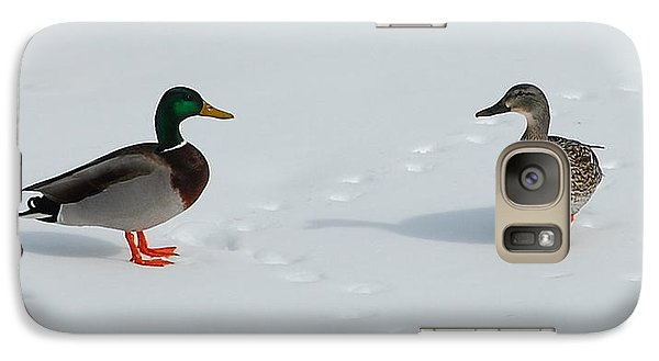 Galaxy Case featuring the photograph Snow Ducks by Mim White