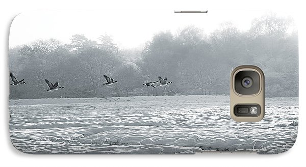 Galaxy Case featuring the digital art Snow And Geese by David Davies
