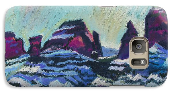 Galaxy Case featuring the painting Snow On Peaks by Linda Novick