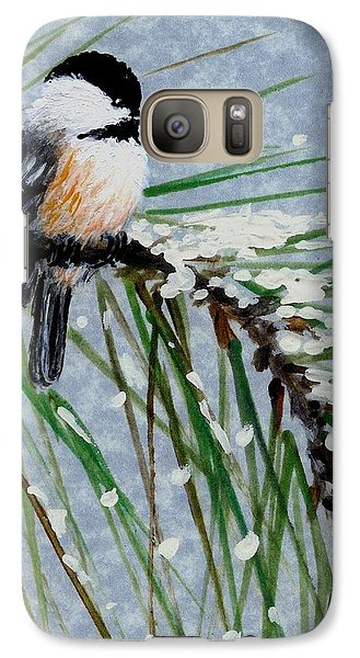 Galaxy Case featuring the painting Snow Pine Chickadee Detail Print Bird 1 by Kathleen McDermott