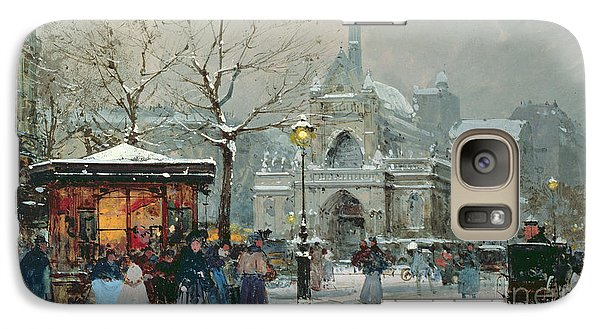 Snow Scene In Paris Galaxy Case by Eugene Galien-Laloue