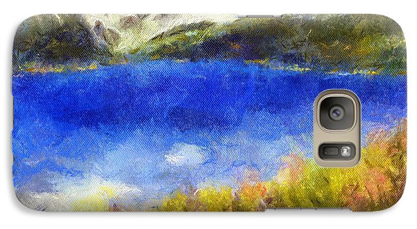Galaxy Case featuring the painting Snowcapped Blue Lake by Arthaven Studios