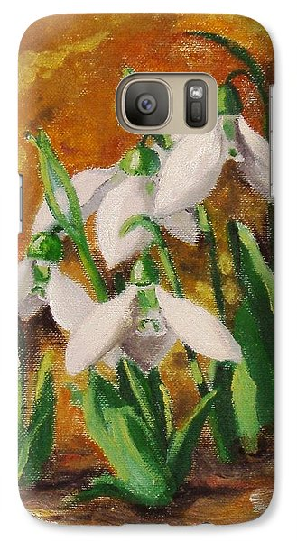 Galaxy Case featuring the painting Snowdrops by Nina Mitkova