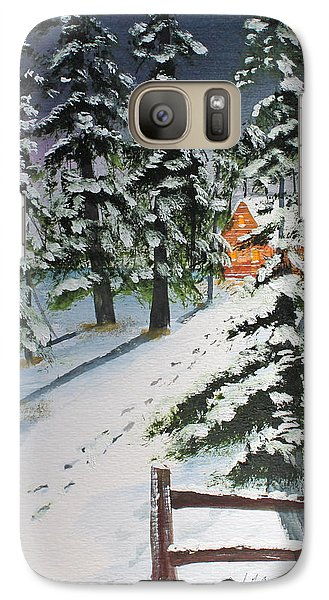 Galaxy Case featuring the painting Snowed In Tonight by Jack G  Brauer