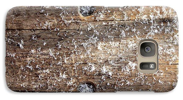 Galaxy Case featuring the photograph Snowflakes On Wood by Barbara Giordano