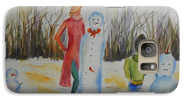 Galaxy Case featuring the painting Snowman Competition by Geeta Biswas