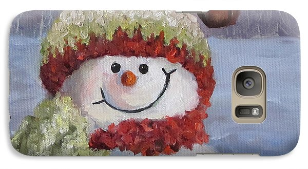 Galaxy Case featuring the painting Snowman II - Christmas Series by Cheri Wollenberg