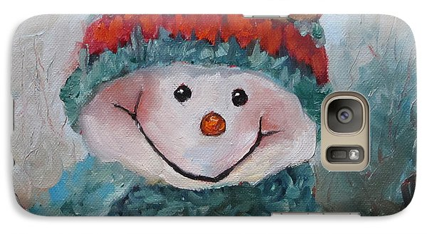 Galaxy Case featuring the painting Snowman IIi - Christmas Series by Cheri Wollenberg
