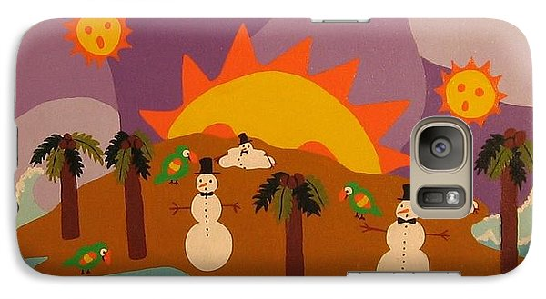 Galaxy Case featuring the painting Snowman Is An Island by Erika Chamberlin