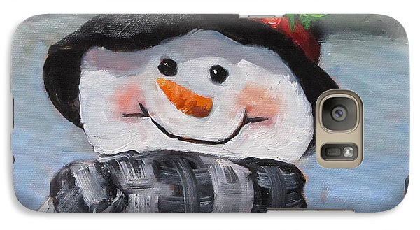 Galaxy Case featuring the painting Snowman Iv - Christmas Series by Cheri Wollenberg