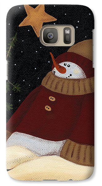 Galaxy Case featuring the painting Snowman by Natasha Denger