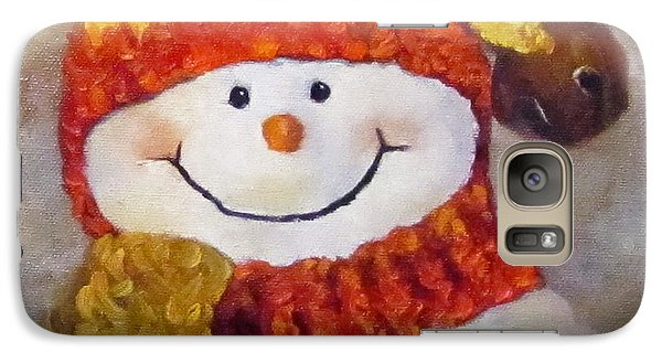 Galaxy Case featuring the painting Snowman V - Christmas Series by Cheri Wollenberg