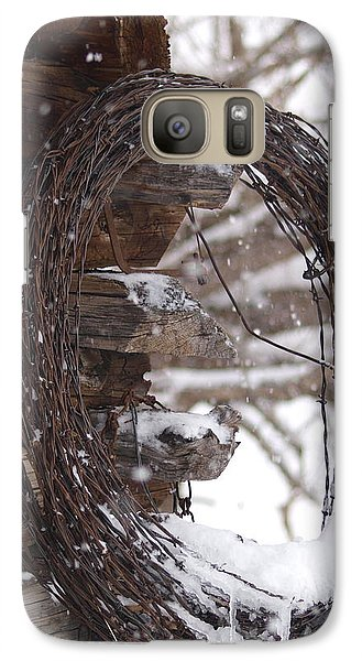 Galaxy Case featuring the photograph Snowy Barbed Wire by Jenessa Rahn