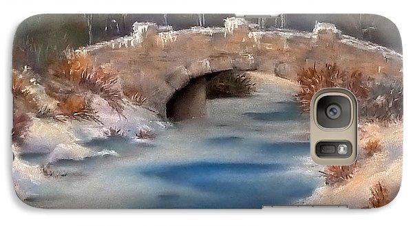 Galaxy Case featuring the pastel Snowy Bridge by Lori Ippolito