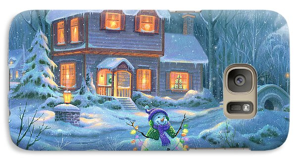 Galaxy Case featuring the painting Snowy Bright Night by Michael Humphries