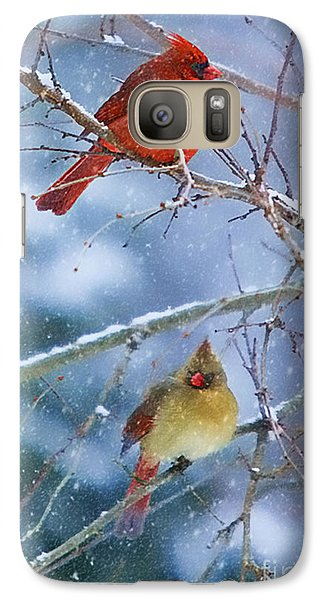 Galaxy Case featuring the photograph Snowy Cardinal Pair by Clare VanderVeen