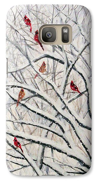 Galaxy Case featuring the painting Snowy Cardinal Tree by Janet Greer Sammons