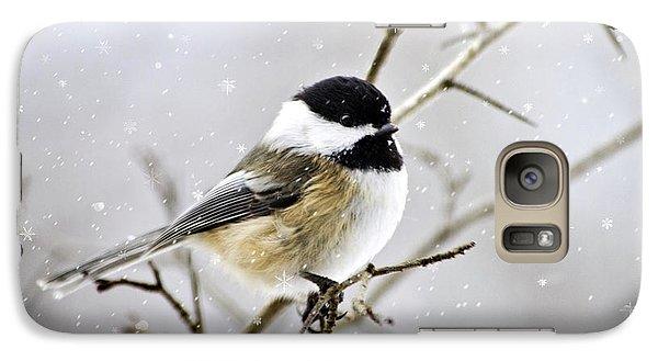 Snowy Chickadee Bird Galaxy Case by Christina Rollo