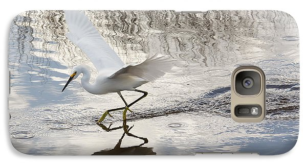 Galaxy Case featuring the photograph Snowy Egret Gliding Across The Water by John M Bailey