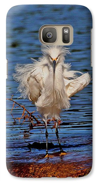 Galaxy Case featuring the photograph Snowy Egret With Yellow Feet by Tom Janca