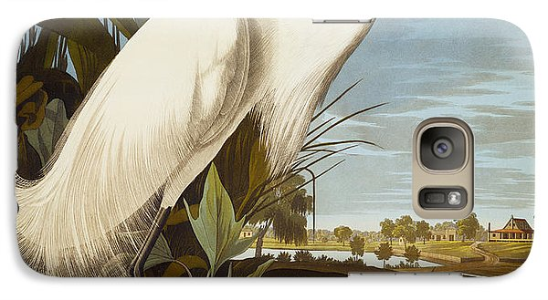 Snowy Heron Or White Egret Galaxy S7 Case by John James Audubon