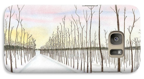 Galaxy Case featuring the drawing Snowy Lane by Arlene Crafton