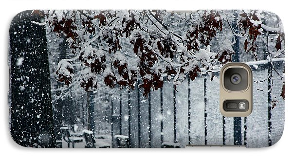 Galaxy Case featuring the photograph Snowy Leaves by Andy Lawless
