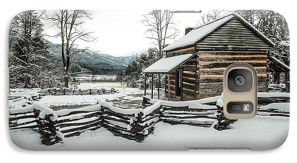 Galaxy Case featuring the photograph Snowy Log Cabin by Debbie Green