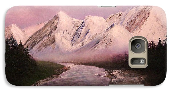 Galaxy Case featuring the painting Snowy Mountains And River by Janet Greer Sammons