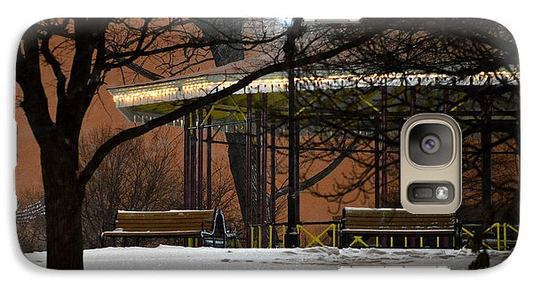 Galaxy Case featuring the photograph Snowy Night In Leone Riverside Park by Bill Swartwout