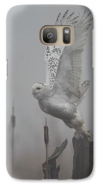 Galaxy Case featuring the photograph Snowy Owl Blastoff by Daniel Behm