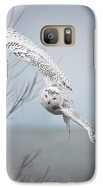 Snowy Owl In Flight Galaxy Case by Carrie Ann Grippo-Pike